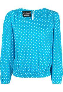 Boutique Moschino Blusa Com Poás - Azul