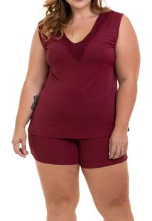 Pijama Curto Regata Liganete Sepie (1051-Pl) Plus Size - Vinho