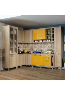 Cozinha Completa 16 Portas 3 Gavetas Sicília 5804 Amarelo/Argila - Multimóveis
