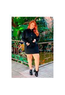 Jaqueta Plus Size Jeans Preta Curta