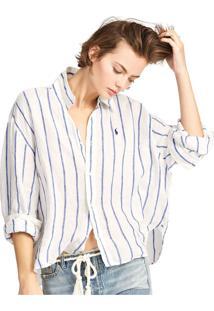 Camisa Linho Polo Ralph Lauren Reta Relaxed Branca
