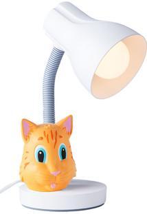 Luminária Infantil Gato - Startec - Branco / Laranja