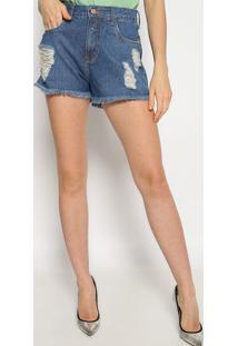 Short Jeans Com Destroyed & Bolsos - Azul - Sommersommer