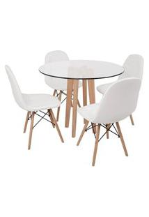 Conjunto Mesa De Jantar Em Vidro 90Cm Com Base Vértice + 4 Cadeiras Botonê - Branco