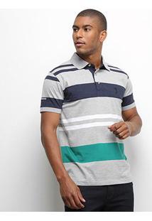 Camisa Polo Aleatory Listrada Fio Tinto Masculina - Masculino-Cinza+Marinho