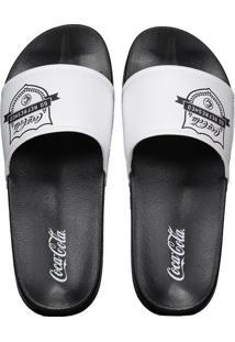 05a5451eec09a0 Fut Fanatics Chinelo Coca Cola Slide Brasão Feminino Preto E Branco