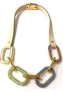 Colar Armazem Rr Bijoux Couro Elos Coloridos Dourado - Tricae
