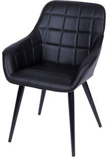 Cadeira Lounge Com Braco Courino Preto E Costura Quadriculada - 50024 Sun House