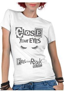 Camiseta Criativa Urbana Rock Music - Feminino-Branco