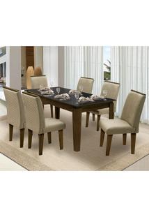 Mesa Para Sala De Jantar Saint Michel Com 6 Cadeiras – Dobuê Movelaria - Castanho / Preto / Bege