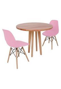 Conjunto Mesa De Jantar Em Madeira 90Cm Com Base Vértice + 2 Cadeiras Eiffel - Rosa