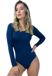 Body Mvb Modas Manga Longa Costa Fechada Azul - Azul - Feminino - Poliã©Ster - Dafiti