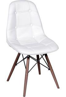 Cadeira Eames Botonãª- Branca & Madeira Escura- 83X44Or Design
