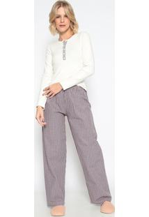 Pijama Manga Longa Com Abertura & Calã§A- Creme & Roxosonhart