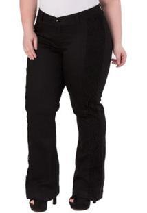 Calça Feminina Confidencial Extra Semi Flare Com Renda Plus Size - Feminino-Preto
