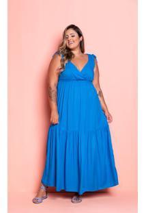 Vestido Longo Mel Azul Plus Size Maria Rosa