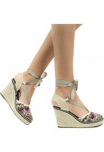 Sandália Zariff Shoes Plataforma Lace Up Crochet