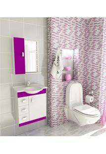 Kit Para Banheiro 3 Peças Sintético Espelho Violeta Tomdo