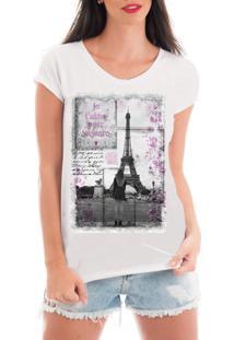 T-Shirt Criativa Urbana Rendada Love Paris Branco