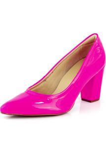Sapato Scarpin Bendito Conforto Salto Verniz Neon Rosa Pink