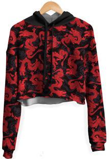 Blusa Cropped Moletom Feminina Dragã£O Chinãªs Vermelho Md01 - Preto - Feminino - Poliã©Ster - Dafiti