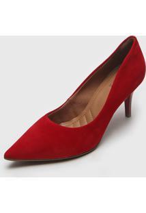 Scarpin Bebec㪠Suede Vermelho - Vermelho - Feminino - Dafiti