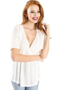Blusa Ampla Cantão Feminino - Feminino-Off White