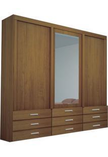 Guarda-Roupa Duplex Coral Com Espelho - 3 Portas - 100% Mdf - Noce