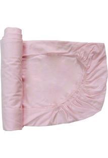Lençol De Berço Baby Deluxe Com Elástico Rosa Liso