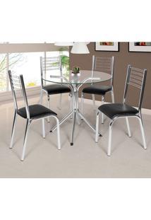 Conjunto De Mesa Com 4 Cadeiras - Camila - Ciplafe - Preto