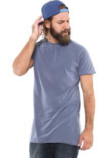 Camiseta Ride Skateboard Alongada Lisa Azul