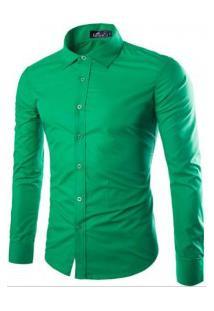 Camisa Social Masculina Slim Manga Longa - Verde