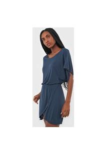 Vestido Acqua By Classic Curto Liganete Azul-Marinho