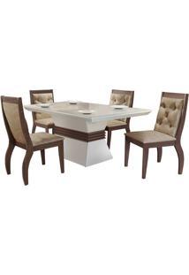 Sala De Jantar Ágata 1.20M Com 4 Cadeiras Café/Off White Animale Chocolate
