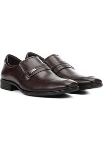 Sapato Social Couro Democrata Alpha Flex - Masculino-Marrom Escuro