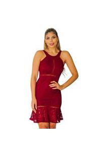 Vestido Boutelle De Renda Moda Festa Curto Marsala Premium