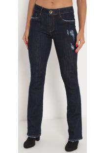 Jeans Boot Cut Low Com Bolsos- Azul Escuro- Lança Pelança Perfume