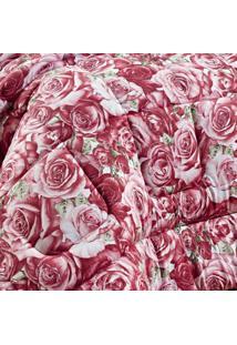 Edredom Solteiro Safari Malha 01 Peça Bernadete Casa Floral Vermelho