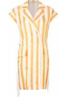 Comme Moi Vestido Listrado - Amarelo