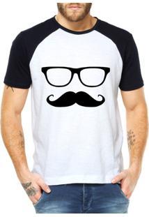 Camiseta Criativa Urbana Mustache Engraçadas Divertidas Raglan - Masculino-Branco