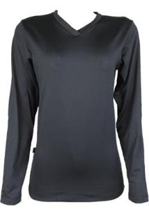 Camisa Térmica Feminina Segunda Pele Gola V Thermo Premium - Feminino-Preto