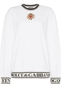 ... Dolce   Gabbana Moletom Sacred Heart Com Logo - Branco 2b0b6f0a19