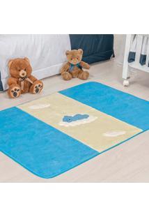 Passadeira Guga Tapetes Premium Ursinho Baby Azul Turquesa 120Mx74Cm Azul Turquesa