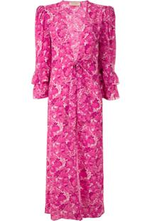 Adriana Degreas Robe Longo Flower Bloom De Seda - Rosa