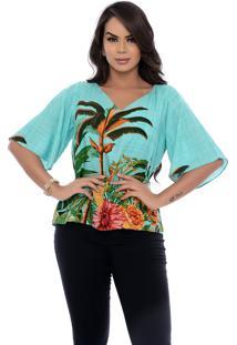 Blusa Bata B'Bonnie Ana Verde Jade Estampada