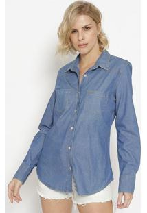 Camisa Jeans Com Bolsos & Tag - Azul- M. Officerm. Officer