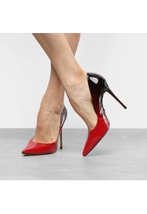 Scarpin Couro Carrano Salto Alto Fino Degradê - Feminino-Vermelho+Preto