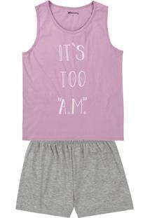 Pijama Curto Feminino Em Malha De Algodão