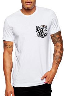 Camiseta Wevans Bolso Aplique Geométrico Branca