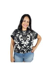 Blusa Mercatto Flores -Preto